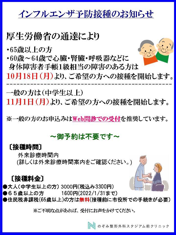インフルエンザ 2021年10月